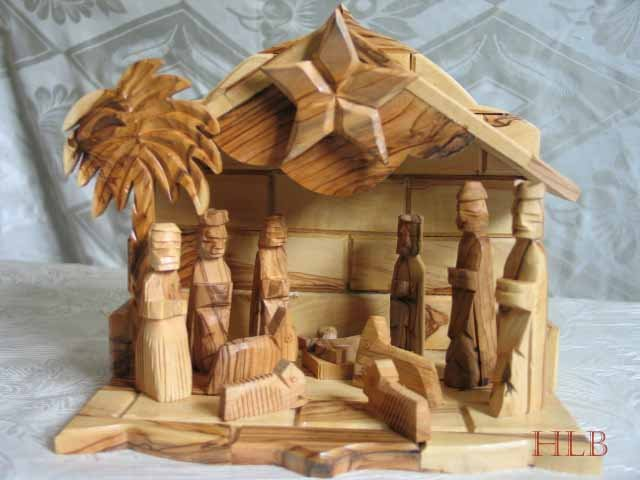 Large Olive Wood Musical Nativity Scene