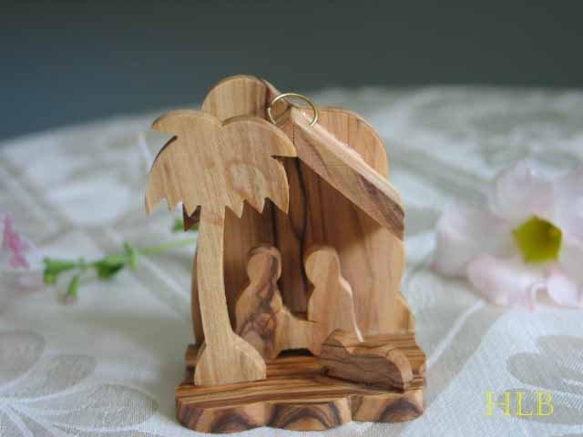 Olive Wood Nativity Scene Tree Ornament With Lamb