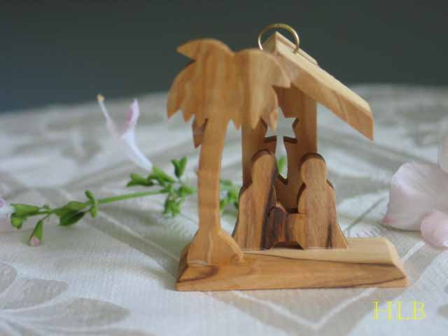 Olive Wood Nativity Scene Tree Ornament With Star