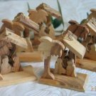 6 Olive Wood Nativity Tree Ornaments with  Star Background