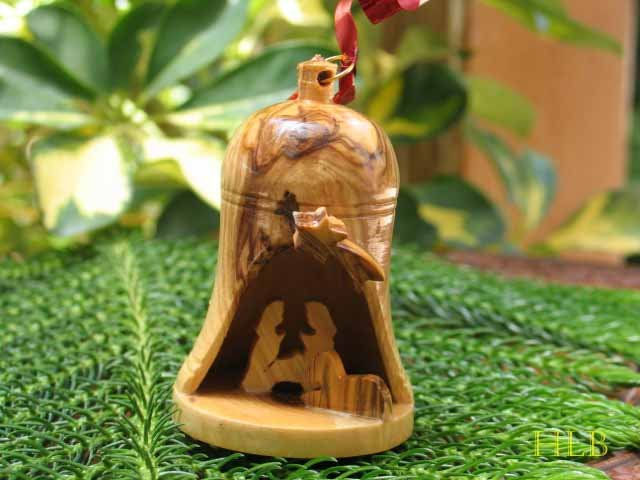 Olive Wood Christmas Bell Ornament With Nativity Scene