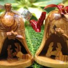 2  Olive Wood Christmas Bell Ornaments  With Nativity Scene