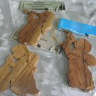 Angel Ornaments Carved Olive Wood Set of 3