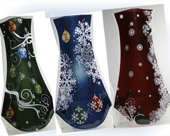3 Pack Vazu Expandable Portable Decorative  'Holiday' Flower Vases