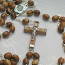 Olive Wood & Pewter Bethlehem Holy Land Rosary