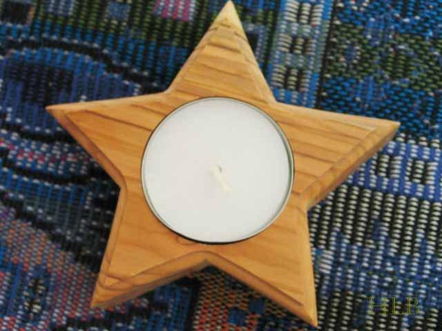 Holy Land Olive Wood Star Candle Holder