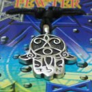 Pewter Hamsa Power Amulet Pendant Necklace