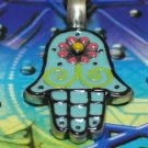 Pewter Hamsa Protection Amulet Necklace For Good Luck