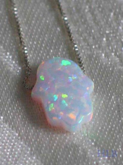 White Opal Hamsa Necklace and Silver Chain
