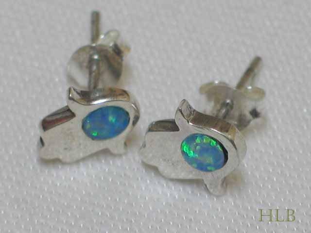 Silver Hamsa Blue Stone Earrings