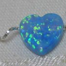 Blue Opal Heart Necklace and 925 Silver Chain