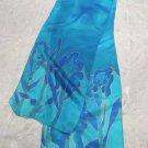 Yair Emanuel Silk Scarf Blue Iris