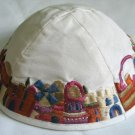 Yair Emanuel Silk Embroidered Kippa White Jerusalem -- YME1W