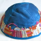 Yair Emanuel Silk Embroidered Kippa Blue Jerusalem -- YME1B