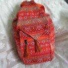 Backpack - Ethnic Fabric Orange / Multi-Color Woven Tote / Shoulder Bag M12