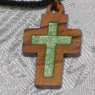 Olive Wood Inlay Cut Out Cross Pendant Necklace