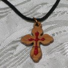 Olive Wood Inlay Budded Cross Pendant Necklace