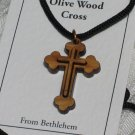 Double Layered Cross Olive Wood Pendant Necklace