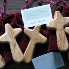 10 Olive Wood Comfort Holding Crosses + Gift Bags