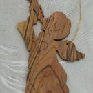 Angel With Horn Christmas Ornament Carved Olive Wood