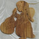 Angel With Lute Christmas Ornament Carved Olive Wood