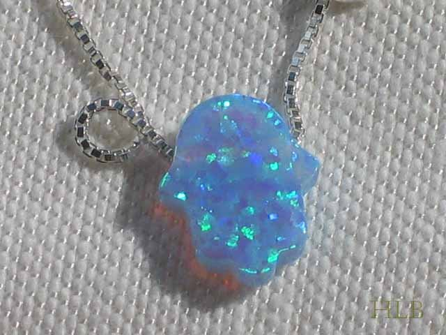 Petite Blue Opal Hamsa Necklace and 925 Silver Chain