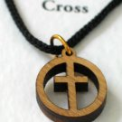 Olive Wood Cross In Circle Pendant Necklace