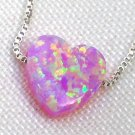 Petite Pink Heart Opal Necklace with 925 Silver Chain