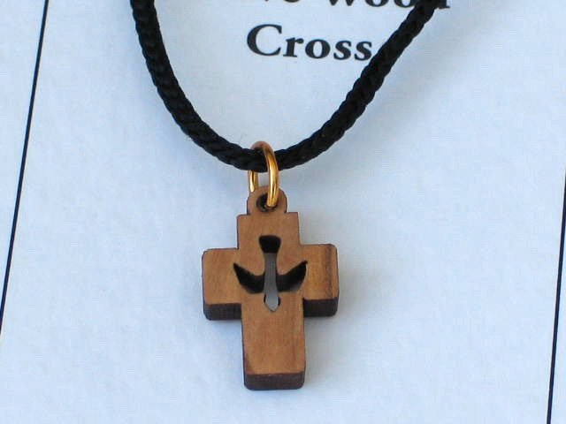 Olive Wood 'Dove Cut Out' Cross Pendant Necklace