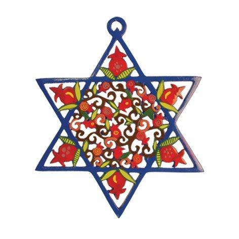 Emanuel Laser Cut Hand Painted Star of David - Pomegranates MDM1