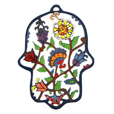 Emanuel Laser Cut Hand Painted Hamsa - Flowers HCL3