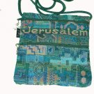 Blue / Green Square Purse With Jerusalem Logo