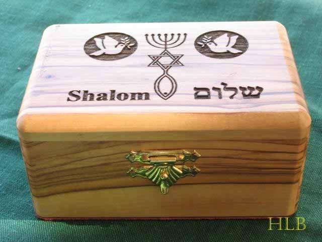 Olive Wood Large Peace - Shalom Jewelry / Keepsake Box