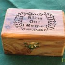 Olive Wood God Bless Our Home Laser Jewelry / Keepsake Box Lrg