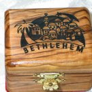 Jewelry Box Olive Wood Keepsake  Bethlehem Laser