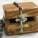 Bethlehem Hematite & Pewter Rosary and Olive Wood Box