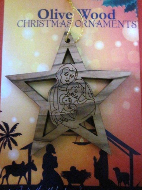 Olive Wood Bethlehem Holy Family Christmas Tree Star Ornament 7