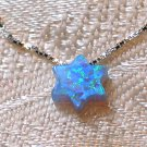 Opal Blue Magen David Jewish Star David Pendant Necklace with Silver 925 Chain