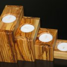 Olive Wood Tea Candle Holders 4 Pcs Set Nested Made in Bethlehem