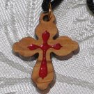 5 Pcs Olive Wood Inlay Budded Cross Pendant Necklace