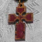 20  Pcs Olive Wood Inlay Cross Pendant Necklace