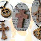 20 Olive Wood Mixed Cross Pendants Necklace