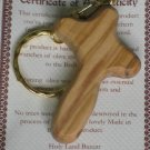 Olive Wood Holding Comfort Cross Key Chain