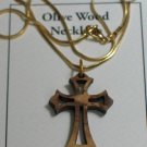 Olive Wood 'Eastern' Cross Pendant Necklace With Gold Chain