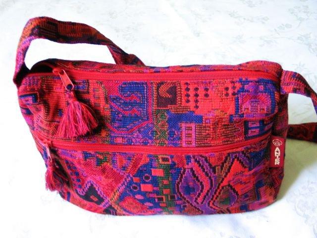Sunny Druze Pattern Red Orange 4 Pockets Shoulder Handbag