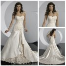 Champagne Satin and Lace Wedding Dress
