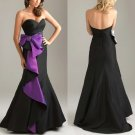 Black and Purple Black Taffeta Long Evening Dress