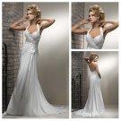 Ivory Chiffon Floor Length Halter Backless Wedding Dress