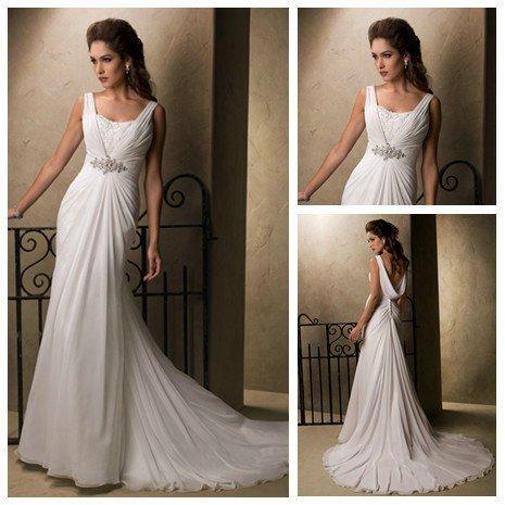 Dramatic cowl back v neckline empire waist floor length for Wedding dresses with dramatic backs