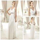 No Train Ivory Chiffon Sleeveless Backless Wedding Dress